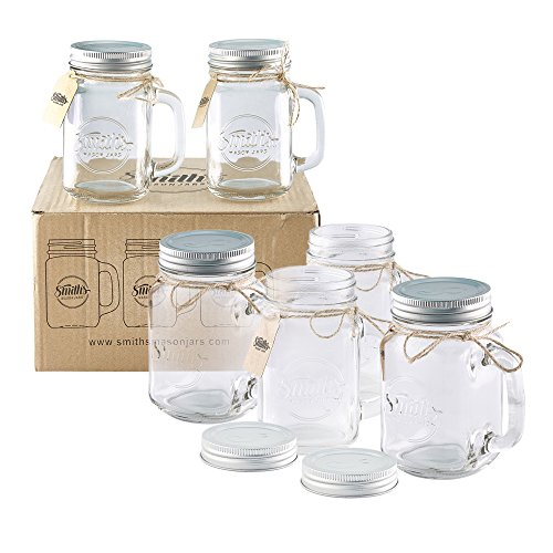 Smith's Mason Jars 6 x 16oz Mason Jar Mugs with Lids