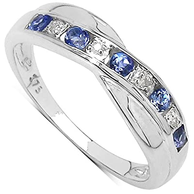 The Diamond Ring Collection: 9ct White Gold Tanzanite & Diamond Channel Set Crossover Eternity Ring