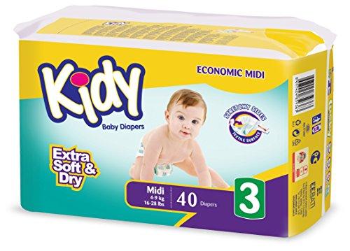Kidy - Lotto di 5 confezioni di pannolini (40 unità, formato 3: 4-9 kg)