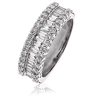 1.10CT Certified G/VS2 Baguette and Round Brilliant Cut Half Eternity Diamond Wide Ring in 18K White Gold