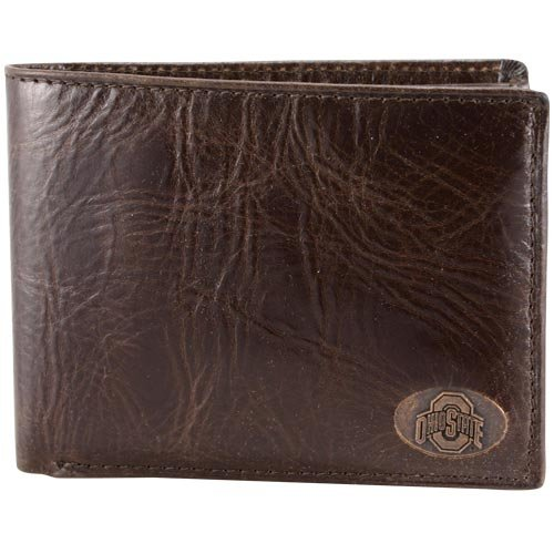 Fossil Athletic Ohio State Buckeyes Brown Leather Roster Traveler Wallet