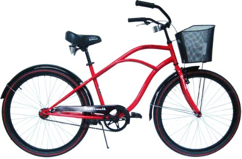 Airwalk Little Wahine High Roller Cruiser Bicycle with Front Basket, 26-Inch, Red