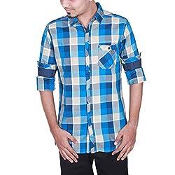 Enovate Men's Slim Fit Cotton Shirt (1012XL_Multi-Coloured_X-Large)