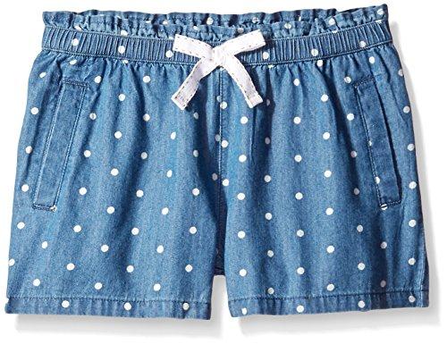 Scout + Ro Girls' Pull On Dot Print Denim Short, Medium Blue, 7