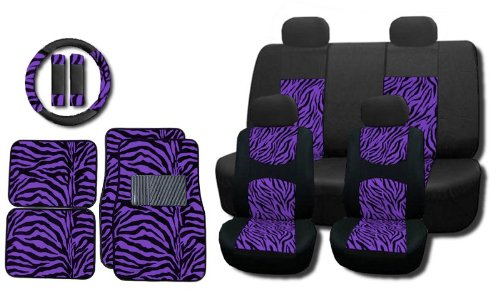 New and Exclusive Mesh Animal Print Interior Set Purple Zebra 15pc Seat Covers Front & Back Lowback, Back Bench, Steering Wheel & Seat Belt Covers - Floor Mats - Padded Mesh (Purple Zebra Back Seat Cover compare prices)