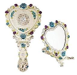 Ivenf Heart Shape Royal Vintage Princess Mirror, Hand-Painted Metal Handheld Mirror, White