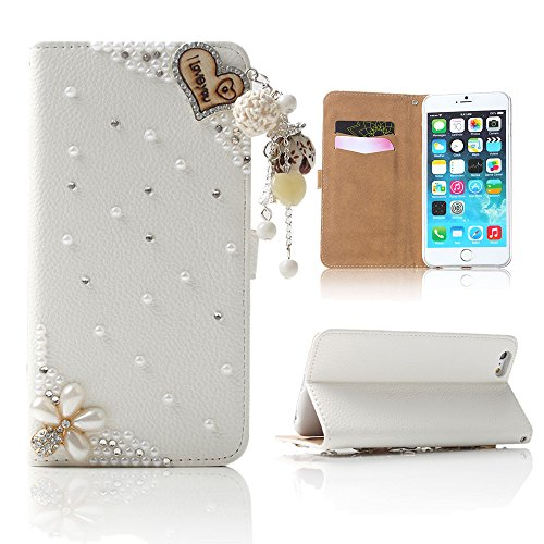 Boriyuan iPhone 6 Plus Case, Ultra Slim Stylish 3D Handmade Luxury Shining Glitter Bling Crystal Diamond Rhinestones Wallet Style Magnetic Protective Folio Flip PU Leather Case Cover for Apple inch iPhone 6 Plus 5.5 inch Smartphone, with Credit/ ID Card Holder Slots and Built-in Stand Function (A06)