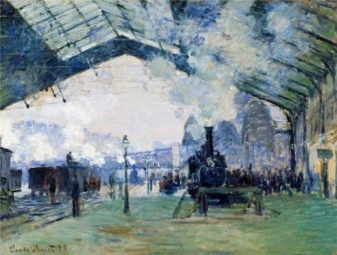 Oil Painting 'Saint-Lazare Station, Exterior View, 1877 By Claude Monet' Printing On High Quality Polyster Canvas , 18x24 Inch / 46x60 Cm ,the Best Living Room Decoration And Home Gallery Art And Gifts Is This Imitations Art DecorativePrints On Canvas