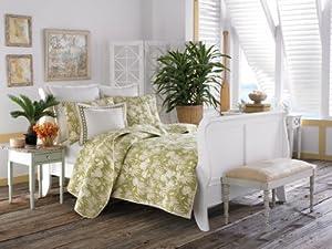 Tommy Bahama Plantation Floral Quilt Set, King, Lime