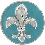 Eligo Jewellery Versilbert 18mm Drückknopf Click Button Hellblue Fleur de Lys Chunk für Eligo 18mm Chunk Armbänder