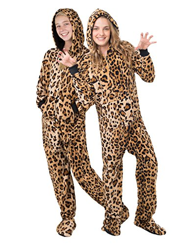 Footed Pajamas - Cheetah Spots Kids Hoodie Chenille - Small