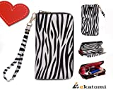 On-the-go lady wallet wristlet 2in1 Clutch for Samsung Galaxy Note II GT-N7100 - Black & White Zebra Print with Coral / Orange interior. Bonus mini stylus pen headset plug dust cover & Ekatomi screen cleaner sticker. St Patrick's Day Sale!