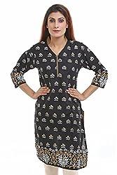 Aamii Women's Cotton Kurta(Aamii739_Black_Large)