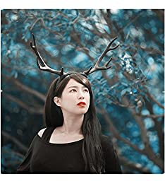 Fvioctrory Party Show Masquerade Halloween Festival Bar Decorations Props Super Animal Big Antlers Hair Band Headband, Black