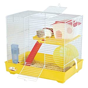 Marchioro Lux 2 Cage for Small Animals, 16 inches, Yellow/White