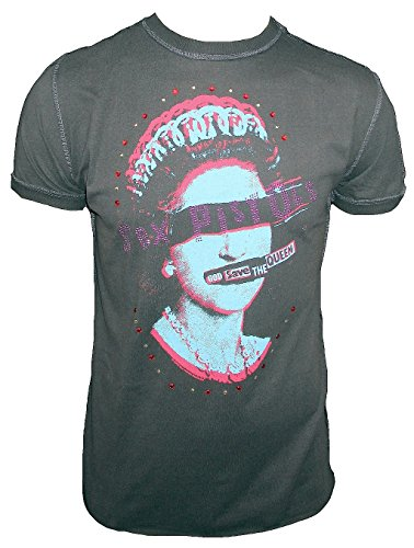 Amplified T-shirt da uomo grigio antracite Official Sex Pistols God Save The Queen strass Vintage Grau M