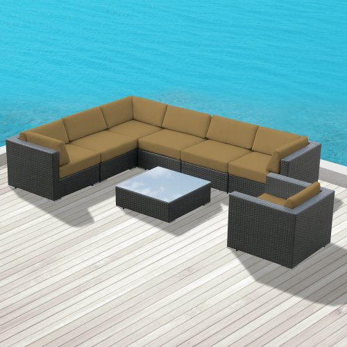 Luxxella Outdoor Patio Wicker DUXBURY Dark Beige Sofa Sectional Furniture 8pc All Weather Couch Set image