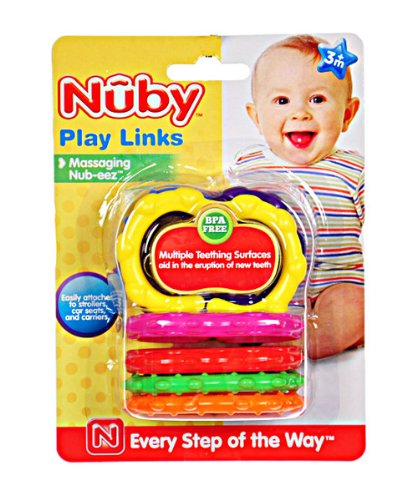 Nuby Play Links Teether (Ages 3M +) - as shown, one size