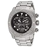 Invicta Pro Diver Men's Swiss Quartz Movement Watch with Black Dial Chronograph Display and Silver Stainless Steel Bracelet 14645
