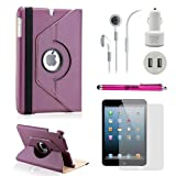Gearonic TM iPad Mini and iPad Mini with Retina Display 5-in-1 Accessories Bundle Purple Rotating Case Business Travel Combo