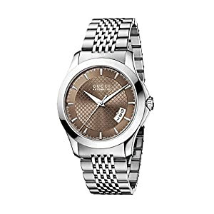 Gucci G-Timeless Collection Men's Quartz Watch with Brown Dial Analogue Display and Stainless Steel Bracelet YA126412