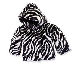 Mud Pie Baby Girls\' Zebra Faux Fur Coat, Multi, 9 12 Month