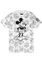 Neff x Disney Wallpaper Mickey Mouse Tee (Grey Floral) Men's S/S T-Shirt