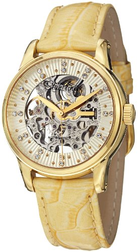 Stuhrling Original Women's 576.1135E15 Vogue Audrey Stella Automatic Skeleton Swarovski Crystal Gold Tone Watch