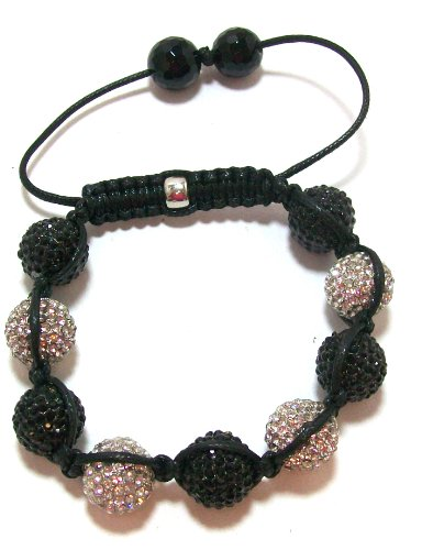 Clearance! Just Give Me Jewels Yoga Black and White Pave Crystal Ball Bracelet