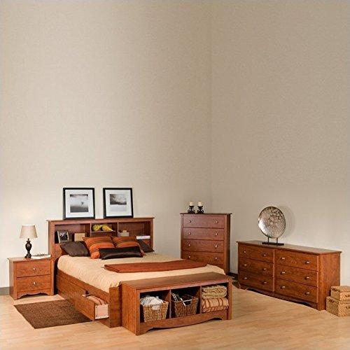 Prepac Monterey Cherry Full Wood Platform Storage Bed 4 Piece Bedroom Set