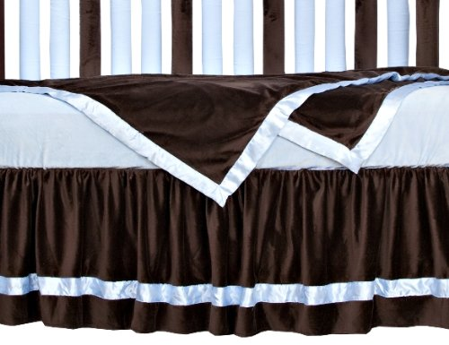 "Go Mama Go Designs 16"" Chocolate Minky Dust Ruffle with Baby Blue Satin Trim, Chocolate/Blue"