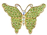 Golden Metal Tone Green and White Rhinestone Embellished Butterfly Pin Brooch