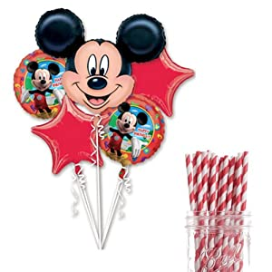 Dress My Cupcake Party Decoration Kit with Straws and Balloons, Mickey Mouse Birthday Party
