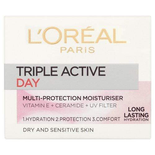 Tripla Crema Active Day L'Oreal Paris Multi-protettiva idratante e Sensitive Skin 50ml Pelle Secca