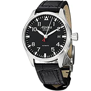 Alpina Startimer Pilot Automatic Black Dial Leather Strap Mens Watch AL525B3S6
