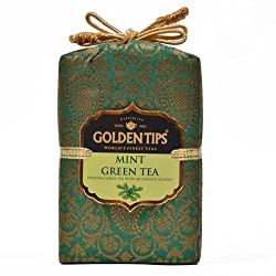 Golden Tips Mint Green Tea Brocade Bag (100g)