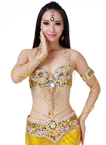 Dreamspell Belly Dance 3pcs Set Professional Fashion Dancing Costumes Yellow Shining