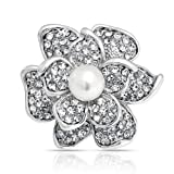 Bling Jewelry Clear Crystal Flower Pin Round White Pearl Brooch