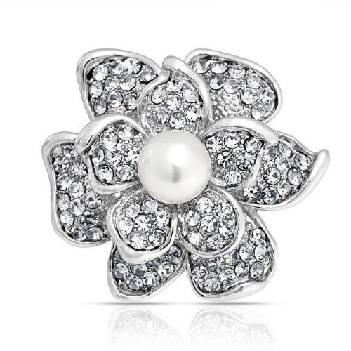Bling Jewelry Clear Crystal Flower Pin Round