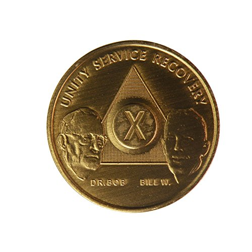 10 Year Bill & Bob Founders Edition Bronze AA (Alcoholics Anonymous) Birthday - Sober / Sobriety / Anniversary / Recovery / Medallion / Coin / Chip - 1