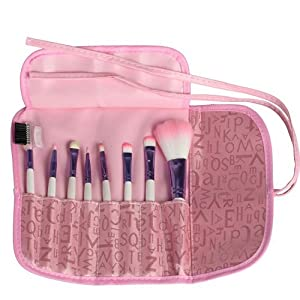 FOONEE 8pcs Professional Cosmetic Makeup Brush Set With Pink Letter Print Bag by FOONEE