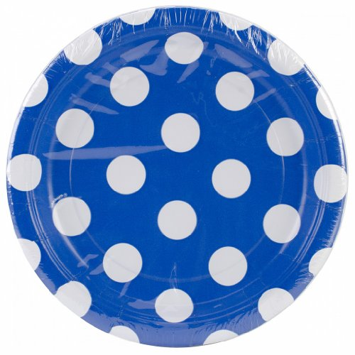 "Round Plates 7"" 8/Pkg-Royal Blue Decorative Dots"