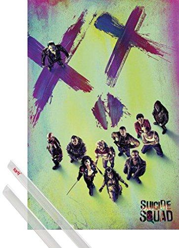 Poster + Sospensione : Suicide Squad Poster Stampa (91x61 cm) Viso e Coppia di barre porta poster trasparente 1art1®