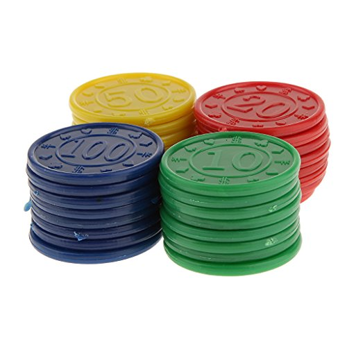 32 Jetons de Poker en Plastique -Machine de Jeu de Mahjong-Jeu de Casino- Bleu Jaune Vert Rouge