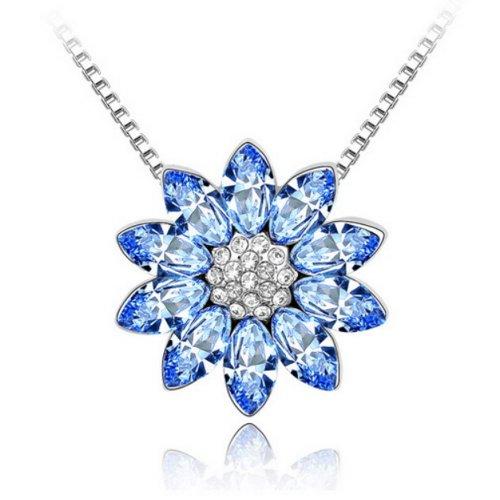 "Alvdis Fashion Jewelry Lotus Flower Style Alloy Swarovski Crystal Pendant Necklace, 16"", Blue"