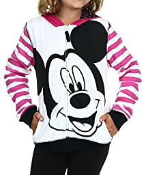 Disney Girls\' Mickey Mouse Zip Up Hoodie with Ears On Hood, Multi, Small