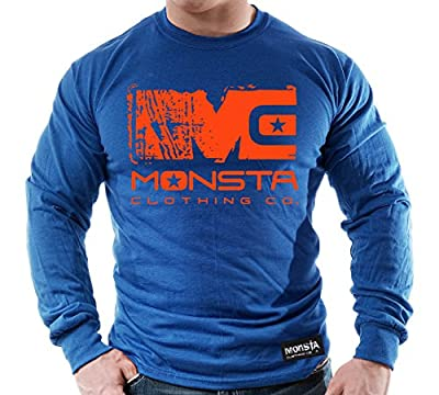 (Blue/Orange) MC-Monsta-253-Longsleeve T-Shirt