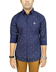 AA' Southbay Men's Dark Blue 100% Cotton Polka Printed Long Sleeve Casual Shirt