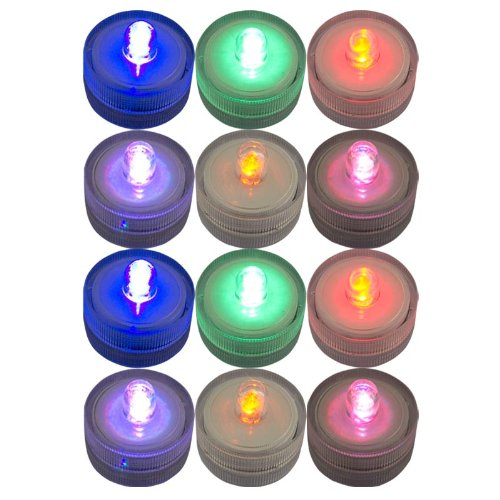 Generic Lots 12X Waterproof Flameless Wedding Party Xmas Tea Multicolor Light Led Candle Sco