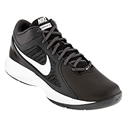 Nike The Overplay VIII Men Round Toe Leather White Basketball Shoe (13 D(M) US, Black/White/Anthracite/Dark Grey)